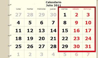 El mes de julio de este año presenta una curiosidad, ya que habrán 5 viernes, 5 sábados y 5 domingos, hecho que no es frecuente en el calendario. El hecho de que 3 días consecutivos de la semana se repitan 5 veces es una característica particular de los meses de 31 días (enero, marzo, mayo, julio, agosto, octubre y diciembre). Son 7 los más largos del año, y tienen 4 semanas completas de 7 días, más otros 3 días más. Por consiguiente, es un hecho que el día de la semana que coincida con el primer día del mes se