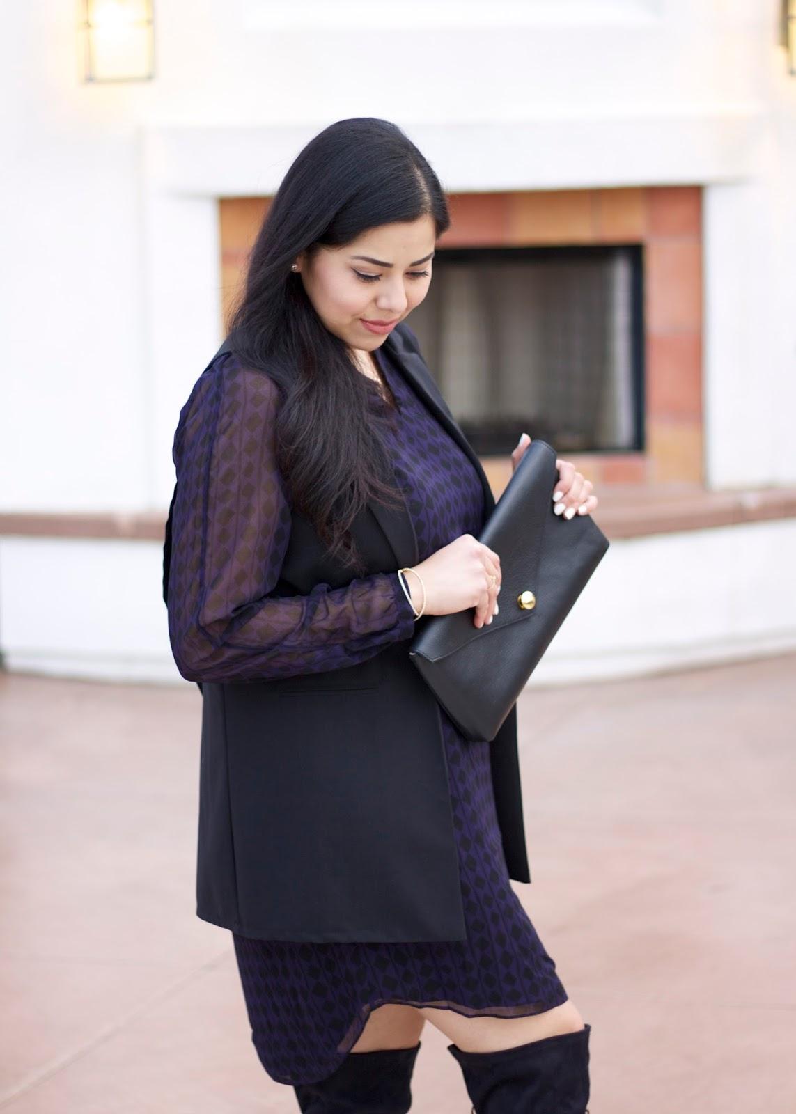 Cabi patterned dress, linel ellis black clutch, black leather clutch, black vest