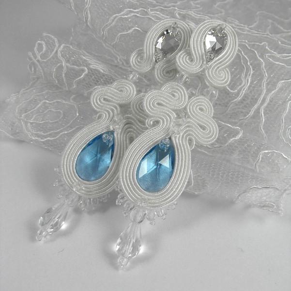 Kolczyki ślubne sutasz Serenity Blue