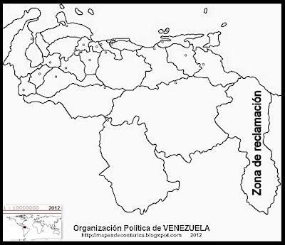 Mapa de la Organización política de VENEZUELA, blanco y negro