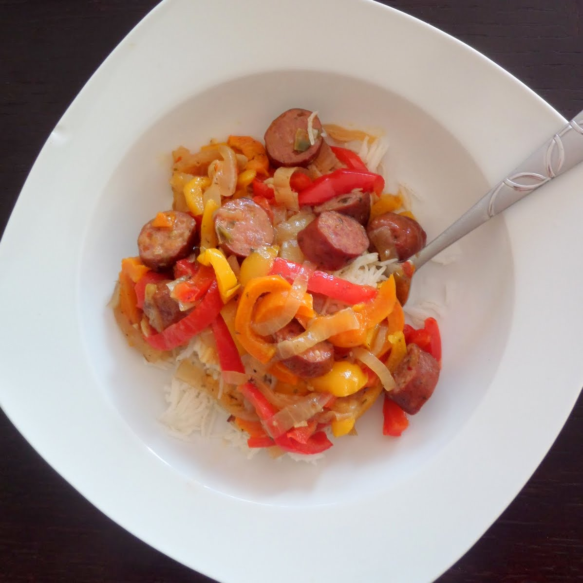 Sausage and Pepper Rice Bowl