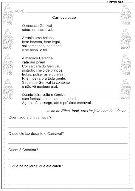 Interpretação Textual Carnaval Atividade Língua Portuguesa