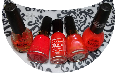 Nicole by OPI 'Have a Heart', Revlon 'Craving Coral', Sally Hansen Xtreme Wear 'Crushed', Revlon 'Kiss me Coral', and Nicole by OPI 'Hello World'