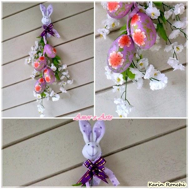 Decoração de Páscoa para porta - flores, ovinhos lilás e coelhinho