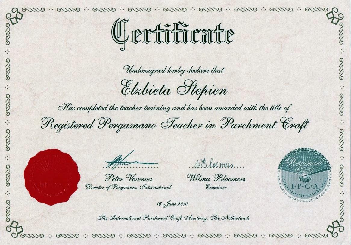 Jestem Certyfikowanym  Nauczycielem Techniki Pergamano