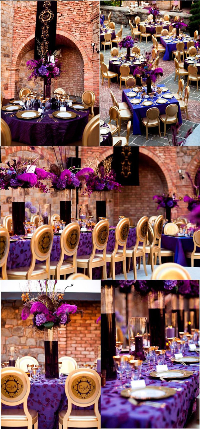 Wedding inspiration stunning purple gold decor belle Purple and gold bedrooms