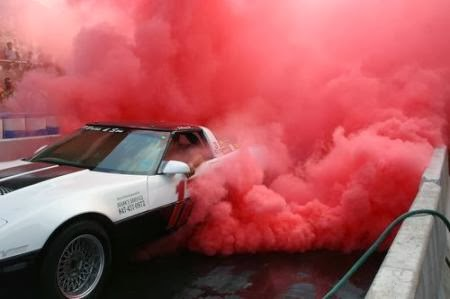 Cars Drifting Red Smoke Car Tires