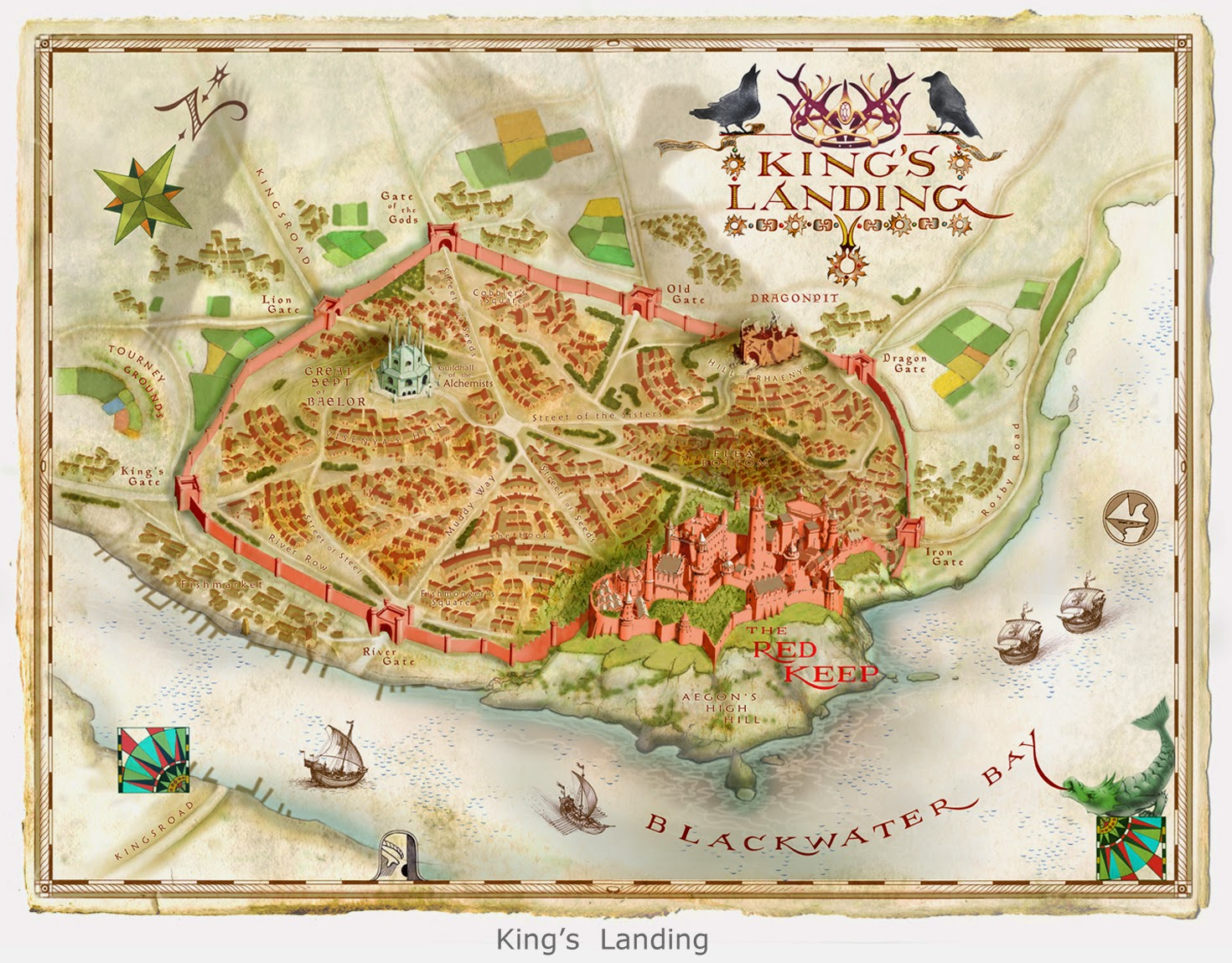 Map illustration by Michael Gellatly of the fictional land of King's Landing from George R. R. Martin's Game of Thrones