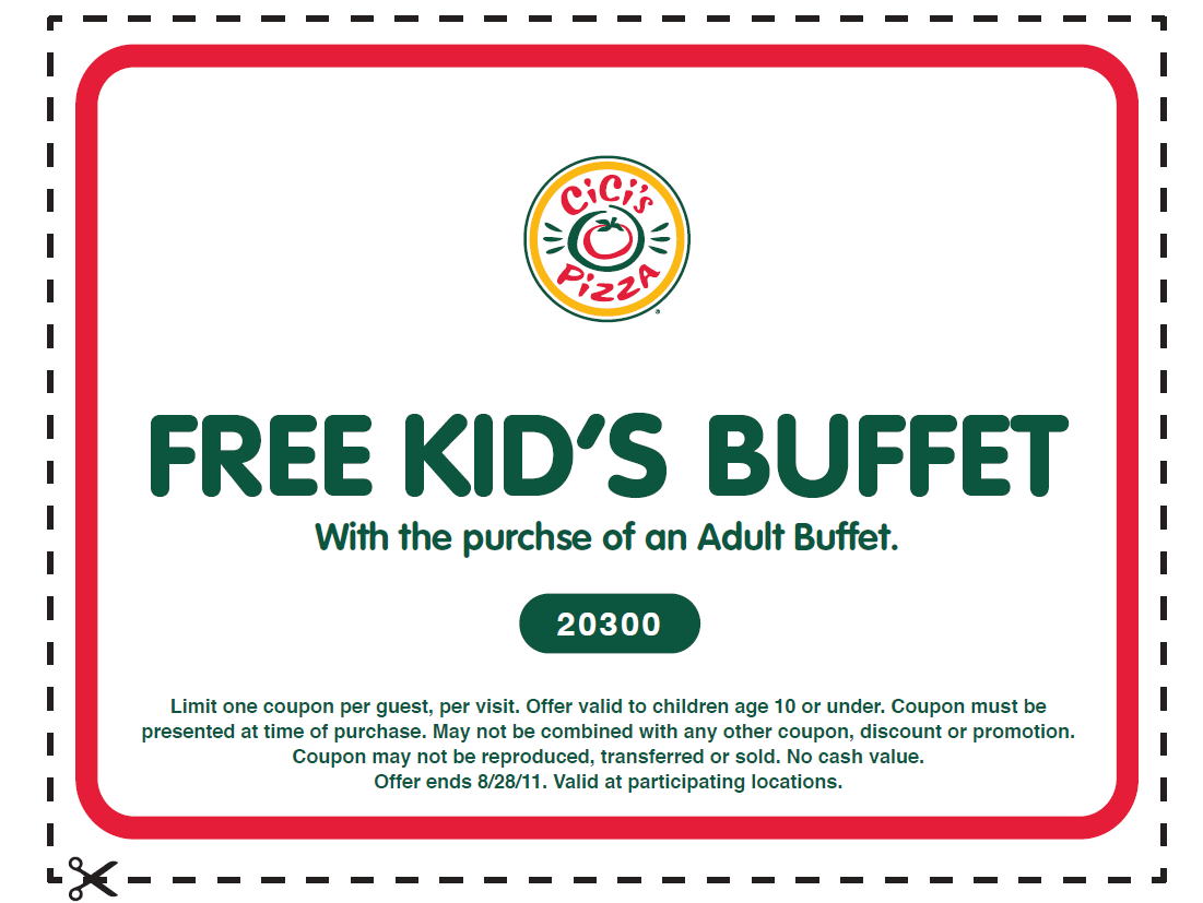 picture regarding Cici's Pizza Printable Coupons identify Its Hip in direction of Clip Discount codes: Totally free Little ones Buffet Coupon for