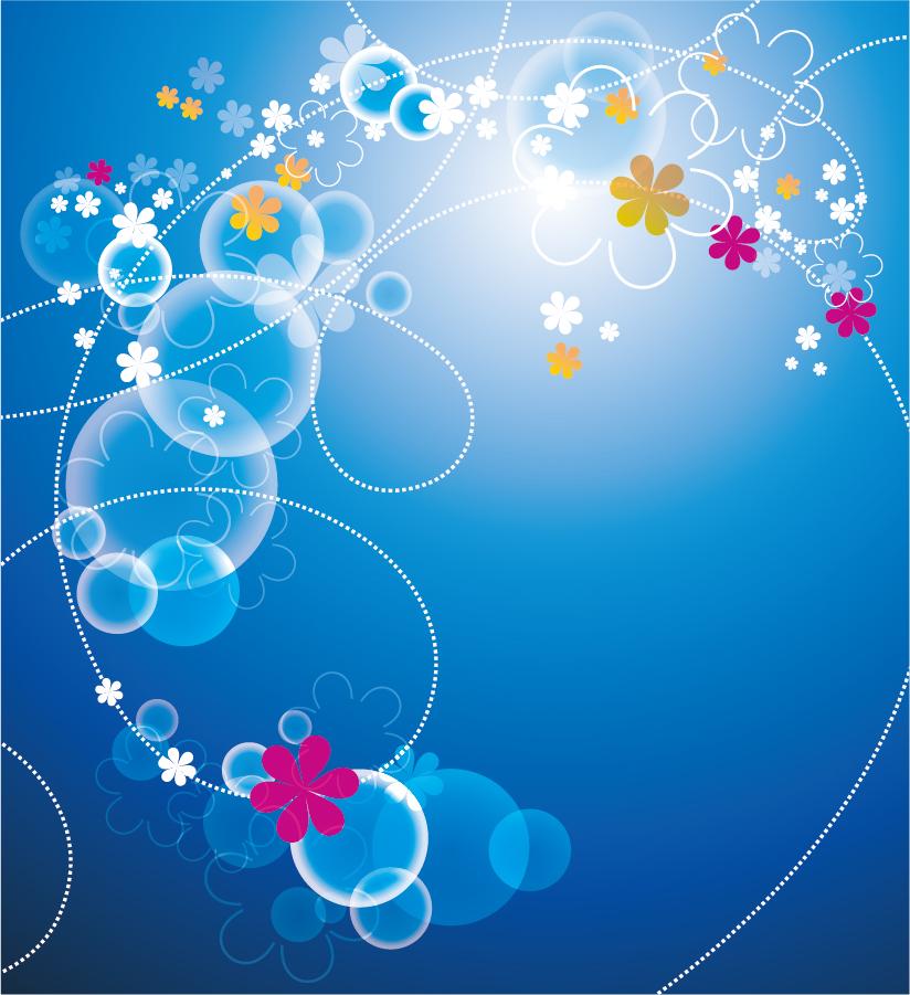 花ビラが舞う青い背景 Abstract Blue Floral Vector Background イラスト素材