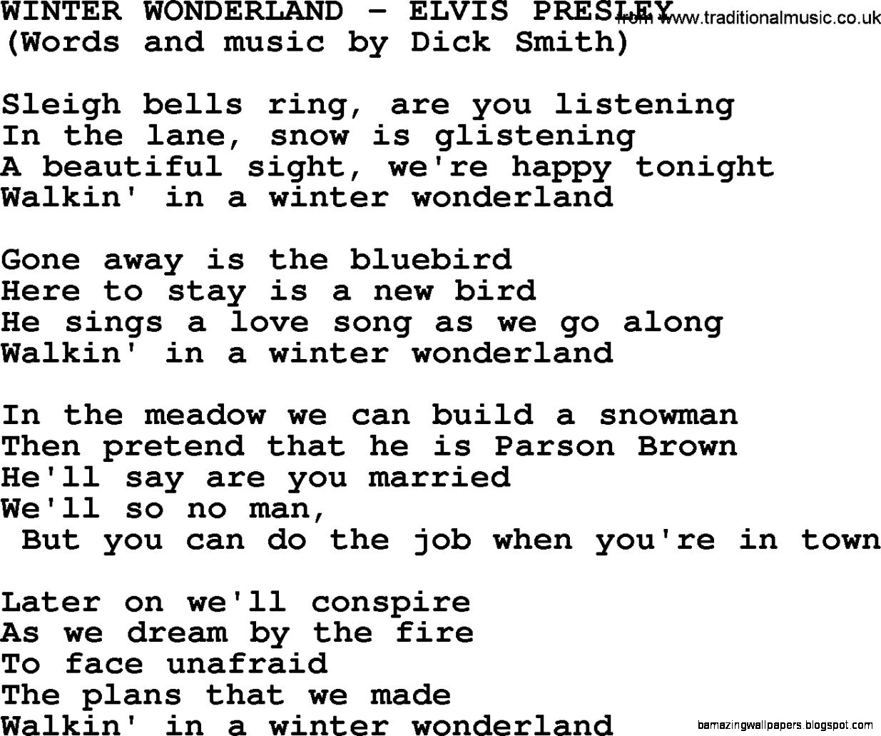 Winter Wonderland by Elvis Presley   lyrics