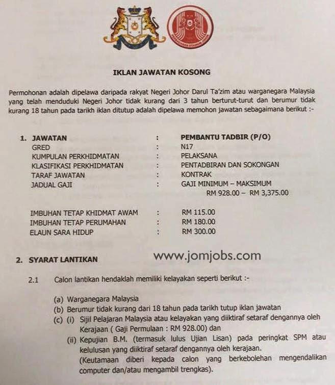 Iklan Jawatan Kosong Perbadanan Stadium Johor 2015