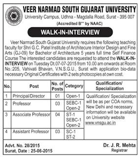 Veer Narmad South Gujarat University (VNSGU) Recruitments www.tngovernmentjobs.in
