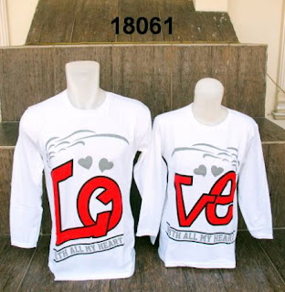 Baju-couple-lengan-panjang-love-putih