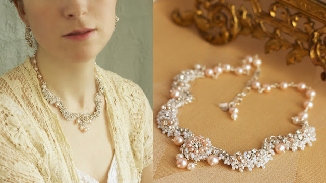 blush pink bridal necklace with silver lace, vintage rhinestones