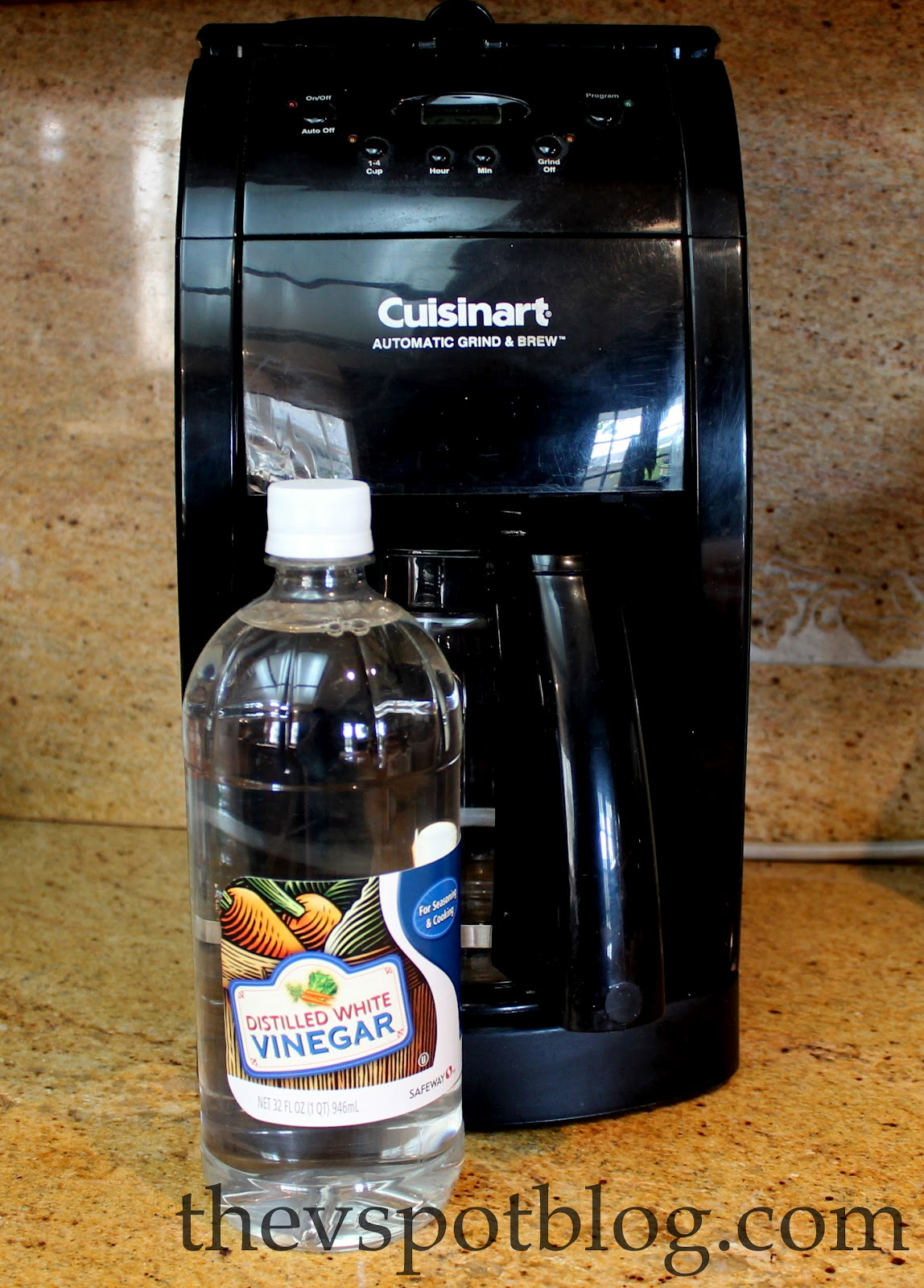 Clean your coffee maker using vinegar. The V Spot