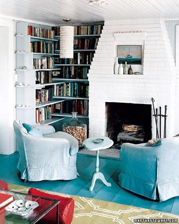 blue painted floor