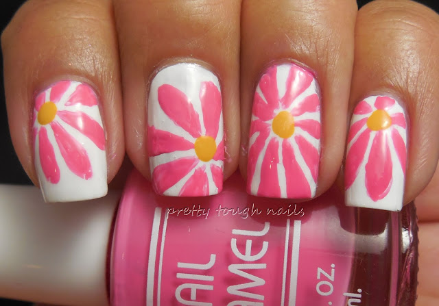 #31DC2013 Floral Nails with Pink Daisies