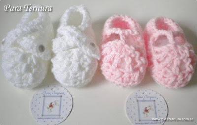 escarpines tejidos al crochet bebés
