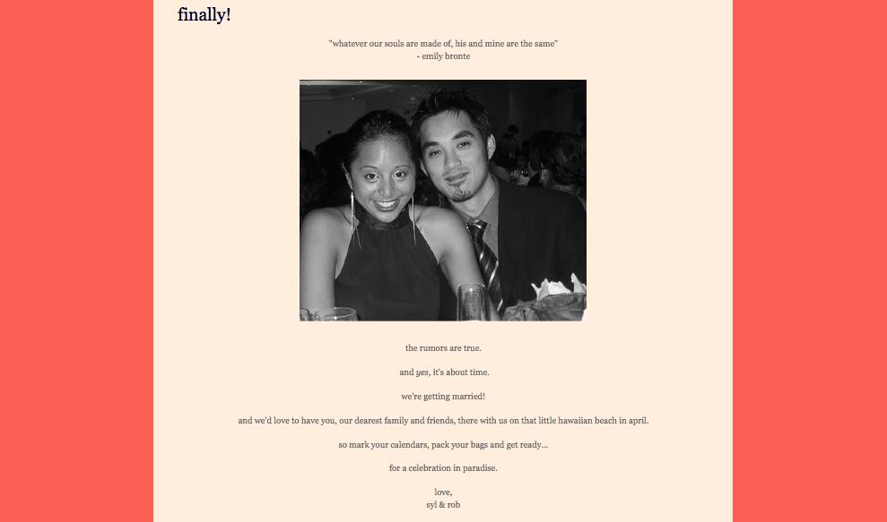 Wedding websites over wedding