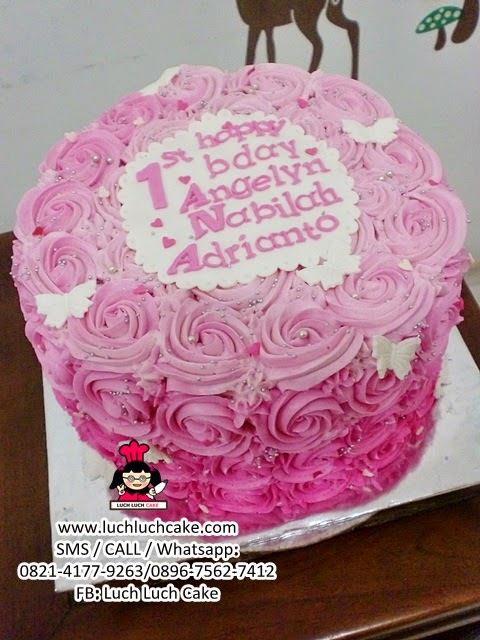 Pink Buttercream Cake for First Birthday Daerah Surabaya - Sidoarjo