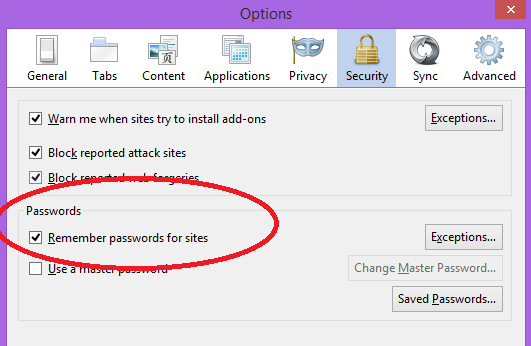 remember passwords in firefox