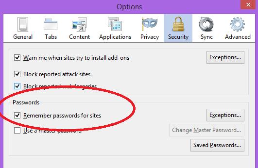 remember passwords in firefox