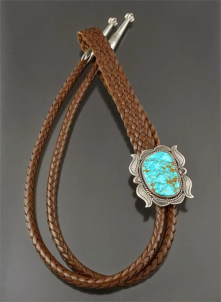 Silver and turquoise bolo tie by Larry Joe (Navajo)