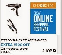 Snapdeal: Buy Personal Care Appliances upto 50% off and Rs. 500 on Rs. 5000 at Rs 4533