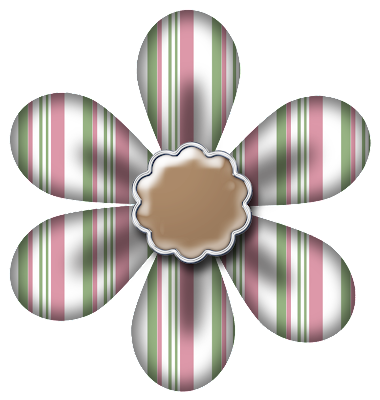 Free Sage Rose Stripe Digital Scrapbook Flower 44