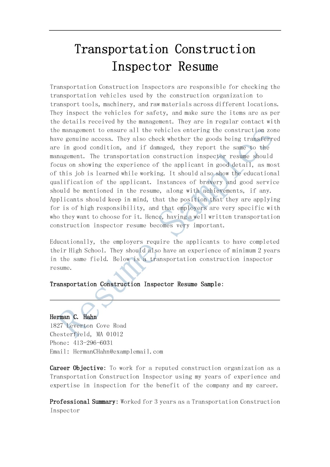 resume examples construction resume examples