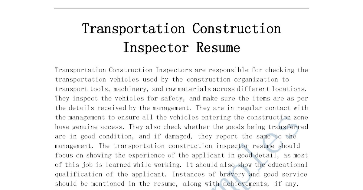 Transportation Inspector Cover Letter