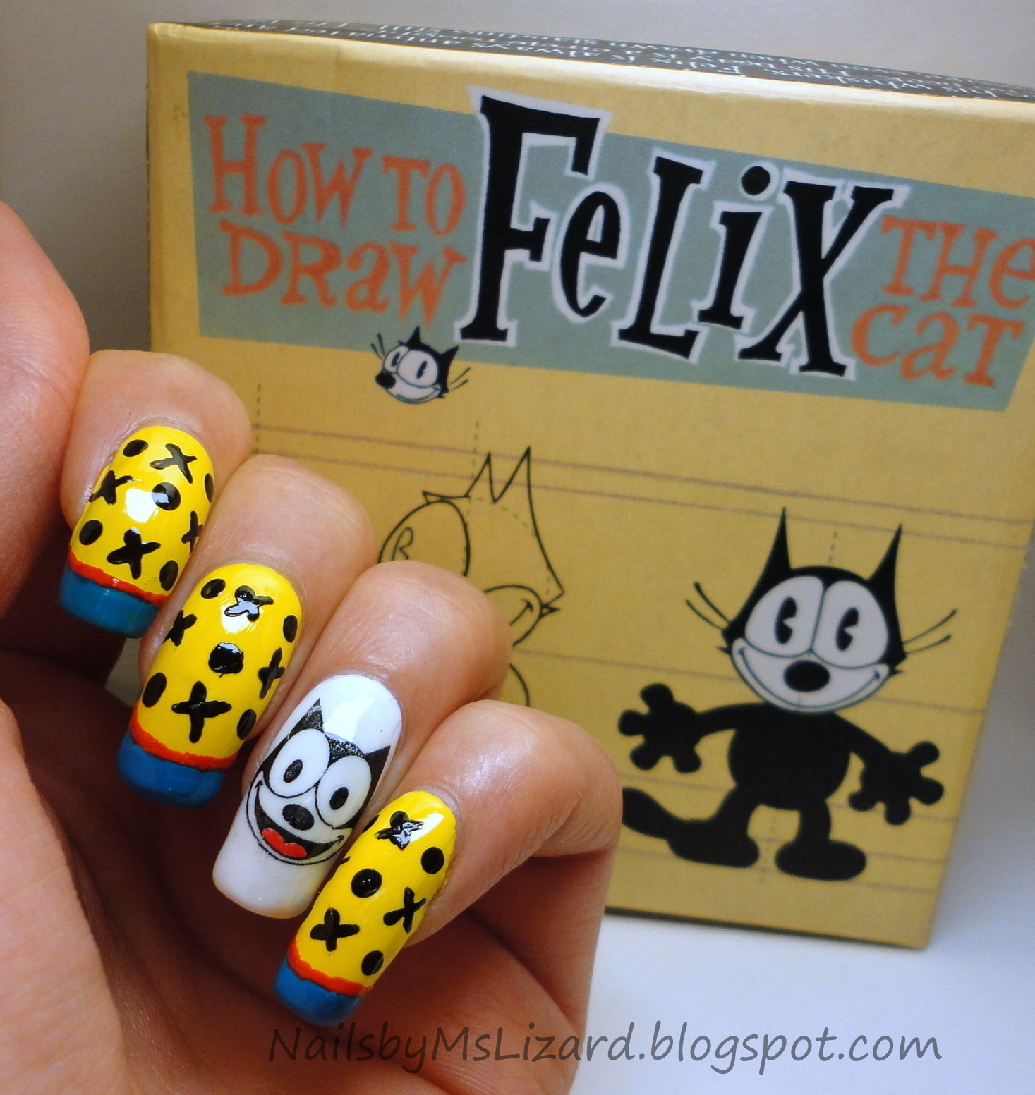 Nails By Ms Lizard Day 13 Cheer Yourself Up Mani Felix The Cat