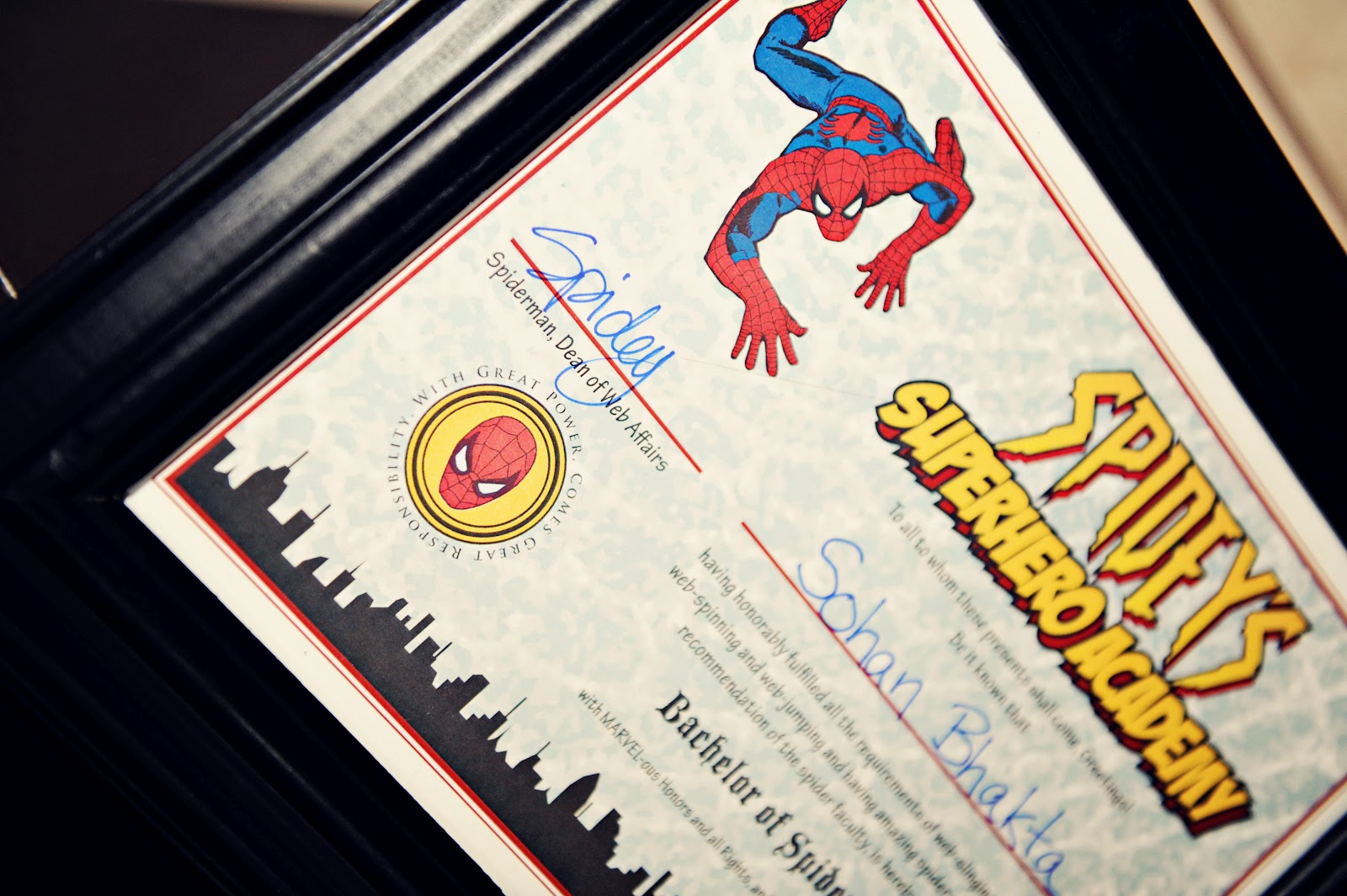 The Party Wall Spideys Superhero Academy Certificate