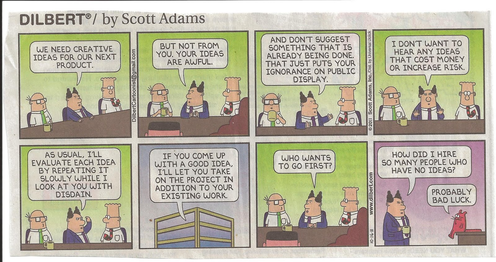 Dilbert Management Meeting Cartoon