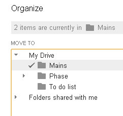 how to move files in to folders in google drive