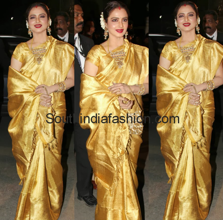 golden color bridal pattu saree