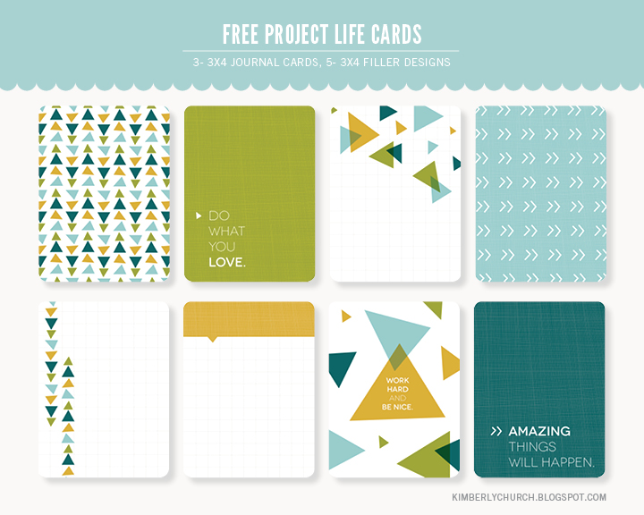 Kimberly Church || Free Project Life Journal and Filler Cards