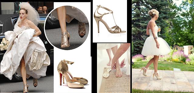 Zapatos en oro para novia