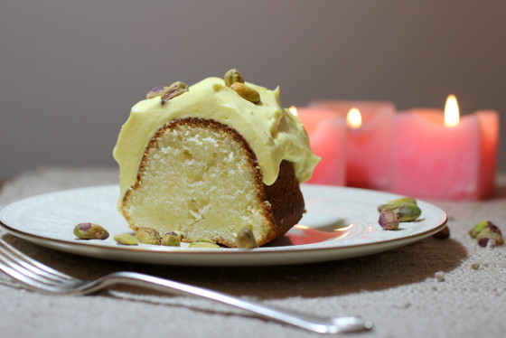 Cardamom Bundt Cake with Saffron Rosewater Cream