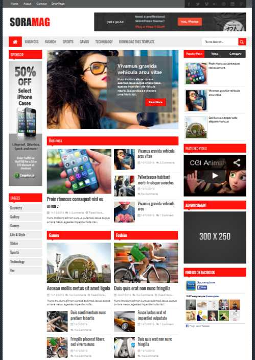 Template Blog Sora Mag – Responsive Design Seo Friendly