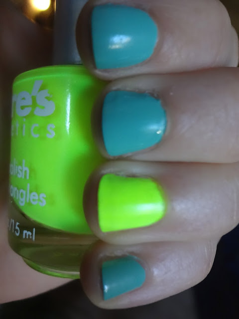 mint and neon nails