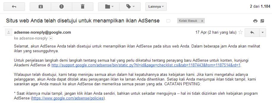 Diterima Google AdSense Dengan Mudah