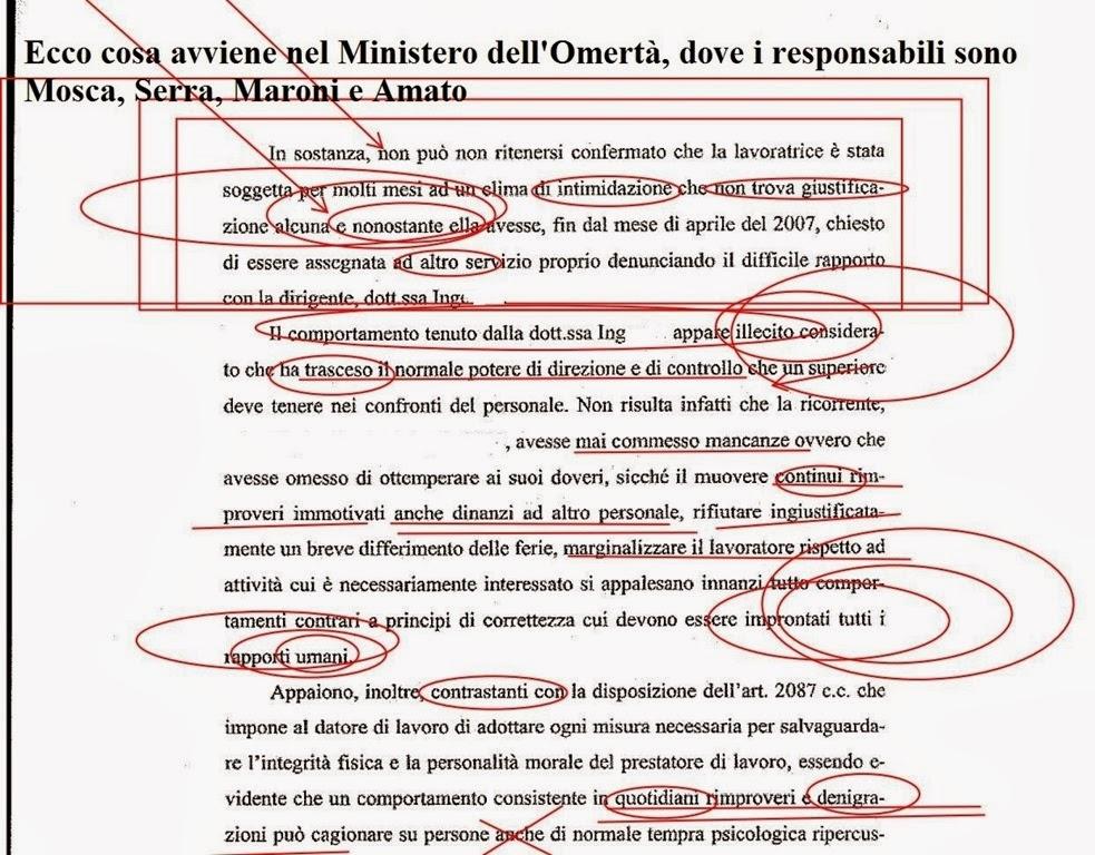 Il mio canto libero condannato per mobbing il ministero for Ministero interno r