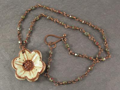 pistachio green stoneware pendant with handmade chain