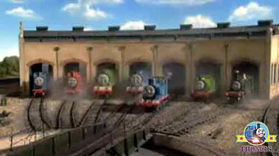 Thomas 7 friends at Tidmouth roundhouse sheds Edward train Henry tank and Gordon the big engine