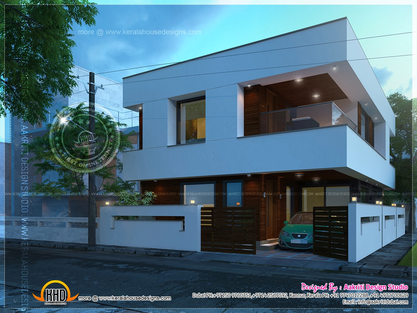 Contemporary open balcony villa design indian house plans - Balcony design for home ...