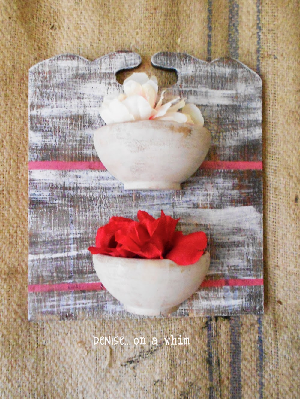Wooden bowls, cut in half, become a small wall ogranizer or display