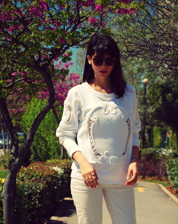 trendydolap,beyaz kombin,zara sweatshirt, twist ayakkabı