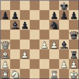Partida de ajedrez Escuté vs. Capó, posición después de 18...Th3!